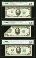 Error Notes:Foldovers, Error Note with Bookends Fr. 2073-B $20 1981 Federal Reserve Note.PMG Choice About Unc 58 EPQ.. ... (Total: 3 notes)