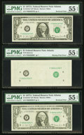 Fr. 1910-F $1 1977A Federal Reserve Note. Three Consecutive Examples. PMG About Uncirculated 55 EPQ