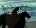 Animation Art:Production Cel, The Lord of the Rings Ringwraith and Horse Production Celand Print Background Setup (United Artists, 1978).... (Total: 2Items)