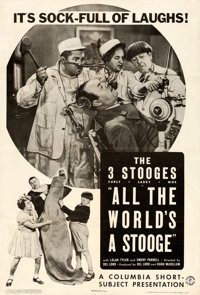 "The Three Stooges in All the World's a Stooge (Columbia, 1941). One Sheet (27"" X 41"")"