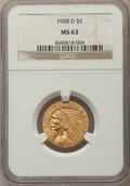 Indian Half Eagles: , 1908-D $5 MS63 NGC. NGC Census: (952/493). PCGS Population:(1367/421). MS63. Mintage 148,000. ...