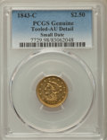 1843-C $2 1/2 Small Date, Crosslet 4 -- Tooled -- PCGS Genuine. AU Details. Variety 1....(PCGS# 7729)