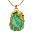 Estate Jewelry:Pendants and Lockets, Jade, Gold Pendant-Necklace. ...