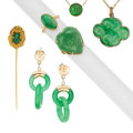 Estate Jewelry:Lots, Jade, Gold Jewelry. ... (Total: 6 Items)