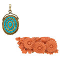 Estate Jewelry:Lots, Turquoise, Coral, Gold Brooches. ... (Total: 2 Items)