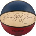 Basketball Collectibles:Balls, 1972-73 Julius Erving Signed ABA (Carlson) Leather GameBasketball....