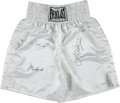 Boxing Collectibles:Autographs, 1990's Muhammad Ali, Joe Frazier & Larry Holmes Signed BoxingTrunks.. ...