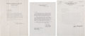 Baseball Collectibles:Others, 1935-57 Mickey Cochrane Signed Letters & Clark Griffith Signed Letter to Cochrane Lot of 3. . ...