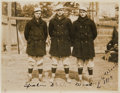 Baseball Collectibles:Photos, 1913 Tris Speaker, Jake Stahl & Joe Wood Vintage Photograph,Signed by Wood, PSA/DNA Type 1. . ...