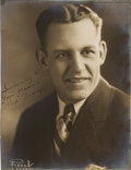 Football Collectibles:Photos, 1926 Red Grange Signed Original Photograph - Used on Shotwell Card.. ...