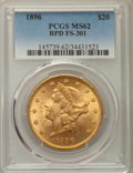 Liberty Double Eagles, 1896 $20 Repunched Date, FS-301, MS62 PCGS. PCGS Population: (36/44). NGC Census: (35/44). MS62. ...