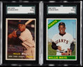 Baseball Cards:Lots, 1957 Topps & 1966 Topps Willie Mays SGC Graded Pair (2)....