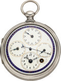 Timepieces:Pocket (pre 1900) , Bordier Geneve Silver Center Seconds Verge Fusee With Multi-DialCalendar. ...