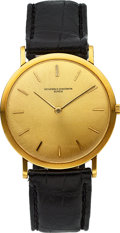 Timepieces:Wristwatch, Vacheron & Constantin Ref. 6506 Extra-Thin Gold Watch, Original Paper, Bi-Fold & Case. ...