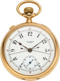 Timepieces:Pocket (post 1900), C.H. Meylan Brassus Fine Gold Split Seconds Chronograph. ...
