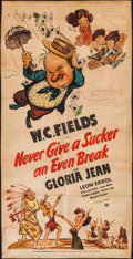 "Movie Posters:Comedy, Never Give a Sucker an Even Break (Universal, 1941). Trimmed Three Sheet (40"" X 80""). Comedy.. ..."