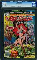 Bronze Age (1970-1979):Miscellaneous, Red Sonja #1 (Marvel, 1977) CGC VF- 7.5 WHITE pages.