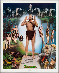 Johnny Weissmuller as Tarzan Limited Edition Print (Nostalgia Merchant, 1977). Numbered and Autographed Poster with C.O...