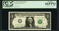 Error Notes:Doubled Face Printing, Fr. 1914-G $1 1988 Federal Reserve Note. PCGS Gem New 66PPQ.. ...