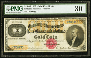Featured item image of Fr. 1218e $1,000 1882 Gold Certificate.  ...