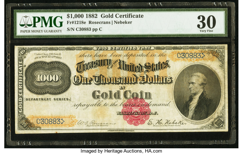 Fr 1218e 1000 1882 Gold Certificate Large Size Gold Lot