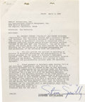 """Movie/TV Memorabilia:Autographs and Signed Items, Steven Spielberg """"Raiders of the Lost Ark"""" Signed Contract. A two-page employment agreement dated April 1, 1980, engaging Sp..."""