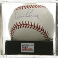 Autographs:Baseballs, Ernie Banks Single Signed Baseball, PSA Mint 9. Mr. Cub gives usthis OML ball adorned with an excellent sweet spot signatu...