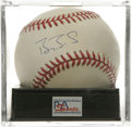 Autographs:Baseballs, Barry Bonds Single Signed Baseball, PSA NM-MT 8. Yet anotherPSA-graded single from the man closest to Home Run King Hank A...