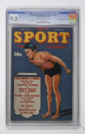 "Golden Age (1938-1955):Miscellaneous, True Sport Picture Stories V3#2 Davis Crippen (""D"" Copy) pedigree (Street & Smith, 1945) CGC NM- 9.2 Off-white to white pages...."