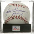 "Autographs:Baseballs, Jim Brown ""HOF 71"" Single Signed Baseball, PSA Mint+ 9.5. This fine""crossover"" collectible puts backfield legend Jim Brown..."