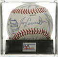 Autographs:Baseballs, 1990 Los Angeles Dodgers Team Signed Baseball, PSA NM-MT+ 8.5.Dodgers souvenir baseball offered here acts as a canvas for ...