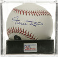Autographs:Baseballs, Willie Mays Single Signed Baseball, PSA Mint 9. OML ball adornedwith an excellent sweet spot signature comes to us via the...