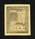 Colonial Notes:Delaware, Delaware January 1, 1776 4s Choice New. Huge even margins surroundthis boldly signed, originally embossed, fully bright Del...