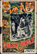 "Movie Posters:Serial, Queen Of The Jungle (Screen Attractions Corp., 1935). One Sheet (27"" X 41"") Flat Folded. Chapter 10 - ""The Temple of Mu."" Se..."