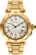 Timepieces:Wristwatch, Cartier Ref. 1020 Gent's Gold Pasha Automatic With Date. ...