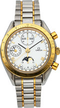 Timepieces:Wristwatch, Omega Ref. 175.0034 Steel & Gold Automatic Chronograph With 24 Hour Indication , Calendar & Moon Phase. ...