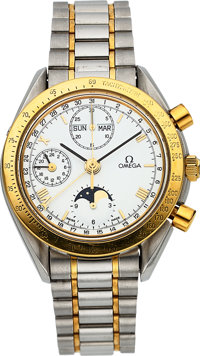 Omega Ref. 175.0034 Steel & Gold Automatic Chronograph With 24 Hour Indication , Calendar & Moon Phase