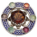 Estate Jewelry:Brooches - Pins, Cairngorm Citrine, Quartz, Enamel, Silver Brooch. ...