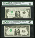 Error Notes:Inverted Third Printings, Fr. 1908-J $1 1974 Federal Reserve Note. PMG Choice Extremely Fine45;. Fr. 1921-F $1 1995 Federal Reserve Note. PMG Choic... (Total:2 notes)