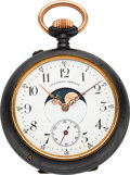 Timepieces:Pocket (pre 1900) , Swiss Calendrier Brevet Double Dial Calendar Moon Phase. ...
