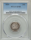 Bust Dimes: , 1833 10C XF40 PCGS. PCGS Population: (49/350). NGC Census:(19/246). XF40. Mintage 485,000. ...