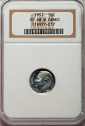 Proof Roosevelt Dimes, 1953 10C PR68 White Cameo NGC. NGC Census: (102/8). PCGSPopulation: (14/0)....