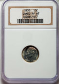Proof Roosevelt Dimes, 1950 10C PR67 Cameo NGC. NGC Census: (91/28). PCGS Population:(82/23). CDN: $60 Whsle. Bid for problem-free NGC/PCGS PR67....