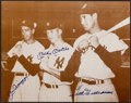 Autographs:Photos, Joe DiMaggio, Mickey Mantle and Ted Williams Multi-Signed OversizedPhotograph....