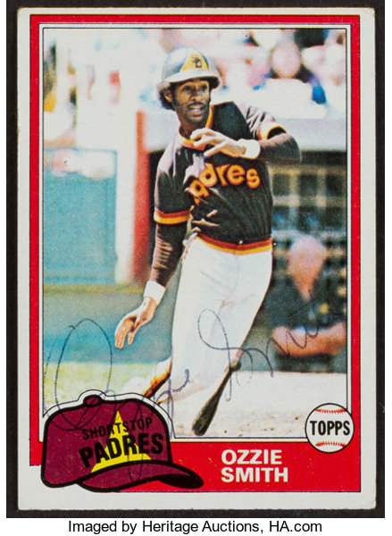 Signed 1981 Topps Ozzie Smith 254 Baseball Cards Singles