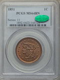 1851 1C MS64 Brown PCGS. CAC. PCGS Population: (178/104). NGC Census: (139/172). MS64. Mintage 9,889,707. ...(PCGS# 1892...
