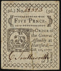 Colonial Notes:Connecticut, Connecticut October 11, 1777 5d Slash Cancel Extremely Fine.. ...