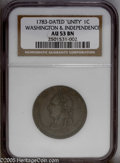 Colonials: , 1783 1C Washington Unity States Cent AU53 NGC. Vlack-27-W. Breen 1188. Smooth and even brown in color, with the usual rough...