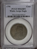 Colonials: , 1791 1C Washington Large Eagle Cent MS63 Brown PCGS. Baker-15, R.2. A very pleasing example of this popular Washington piec...