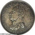 Colonials: , 1783 1C Washington & Independence Cent, Draped Bust, No Button AU55 PCGS. Brass. Breen-1191. Two known from different dies....